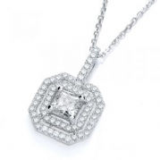 "J-Jaz Micro Pave' Fancy Pendant Cz Centre with 18"" Chain"